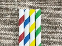 Bio Papiertrinkhalm 230/8mm weiß/uni bunt gestreift 5-Farben