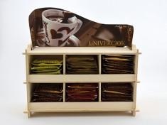 Holz-Display Schokolade leer 6 Fächer mit Pappschild