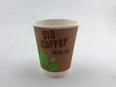 BioCupPap Hot 200DW (8oz) doppelwandig 260ml randvoll, Ø80mm, H91mm
