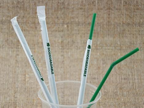 Bio Trinkhalme 240/5mm dunkelgrün flexib. 16x400 gehülst bedrucktem Papier