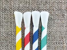 Bio Papiertrinkhalm Löffel 200/8mm weiß/uni bunt gestreift 5-Farben Mix