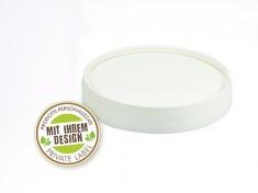 Druck Bio Papp-Deckel f. Becher W550 weißer Farbrand ohne Spaten Ø97mm