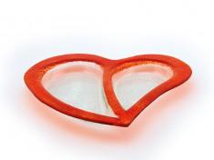 Herz Teller rot Glasteller H30cm, max. B31cm