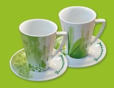 Tassen f. Bio-Tee mit Deckeluntertassen 6 Stück im Pack