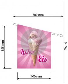 Druck-Werbefahne Eis To Go personalisiert