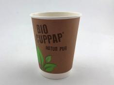 BioCupPap Hot 300DW (12oz) doppelwandig 420ml randvoll, Ø90mm, H112mm